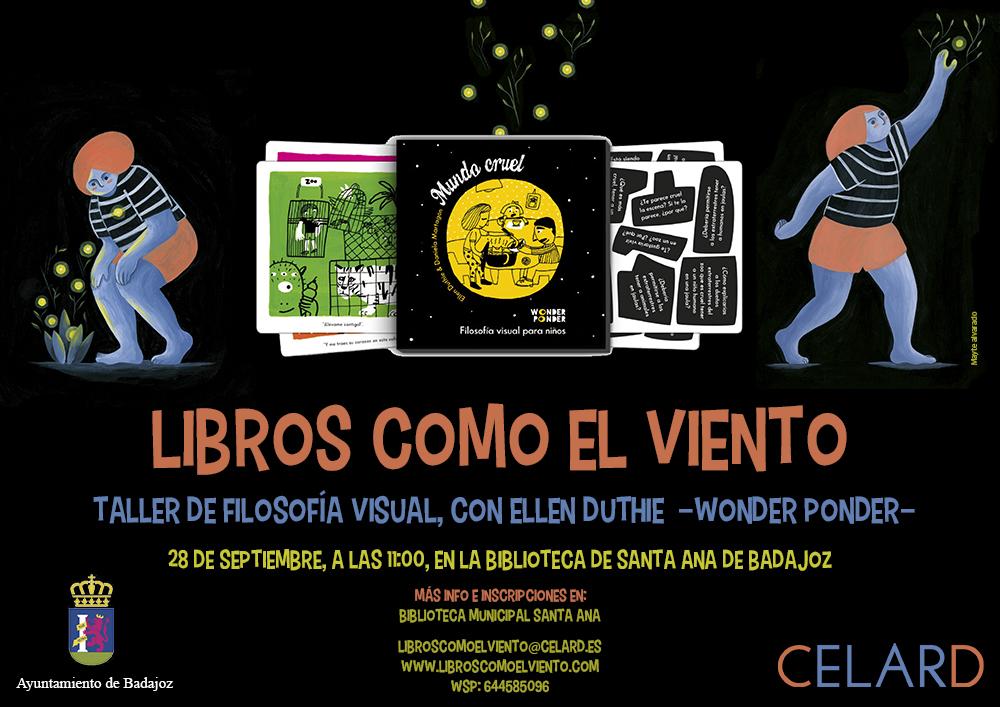 CARTEL LIBROS COMO EL VIENTO - TALLER DE LECTURA INFANTIL - WONDER PONDER